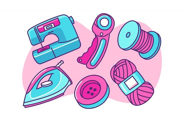 Set of sewing tools cartoon illustration Premium Vector