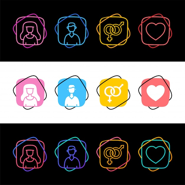 Set of sex avatar man and woman simple colorful icon in three styles. male famale and love heart Premium Vector