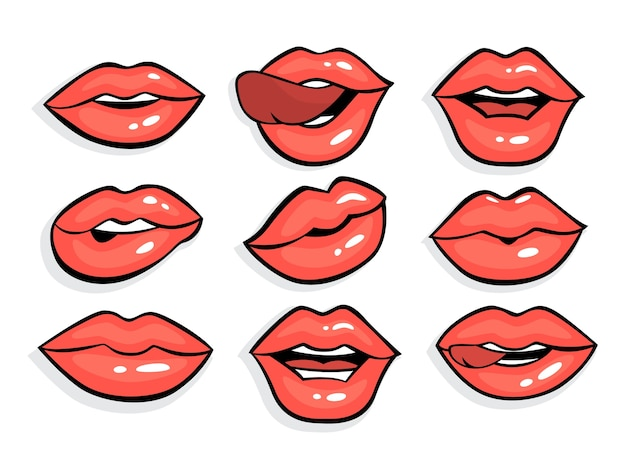 Set of sexy red pop art lips. mouth with red lipstick on it in vintage comic style. collection of girl lips with tongue.    illustration Premium Vector