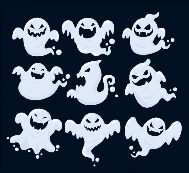 Set of the shadow of many ghosts floating on halloween. Premium Vector