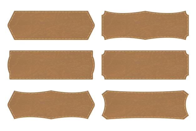 Set shapes of leather sign labels or leather  tag Premium Vector