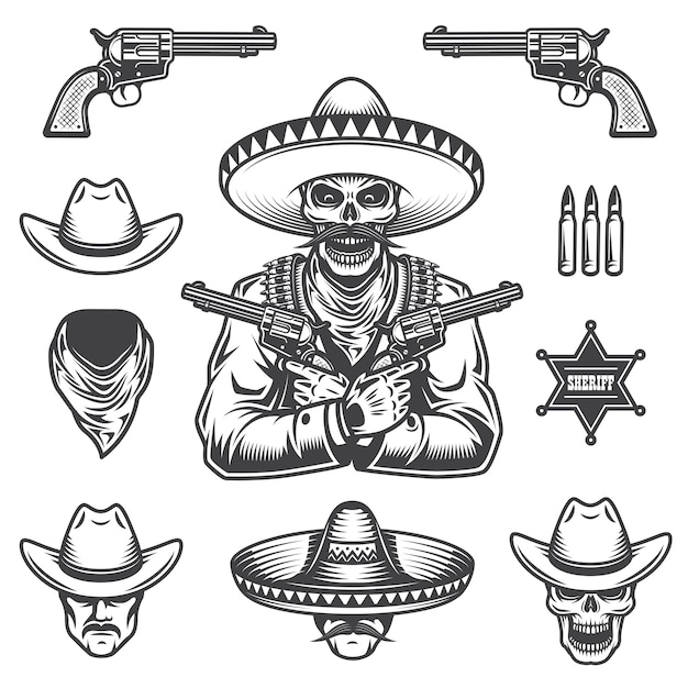 Set of sheriff and bandit elements and heads. monochrome style Free Vector