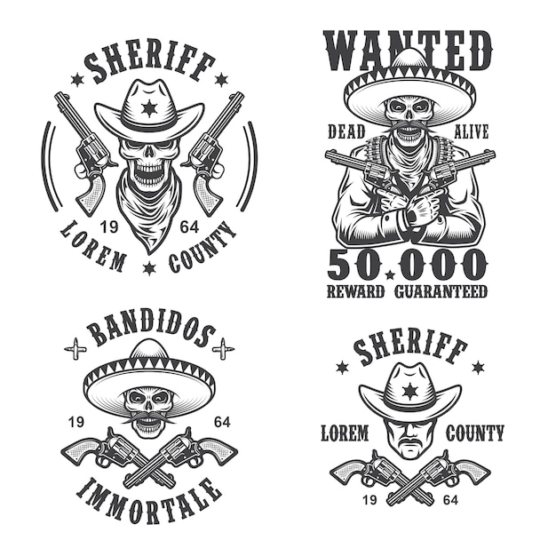 Set of sheriff and bandit emblems, labels, badges, logos and mascots. monochrome style. Free Vector