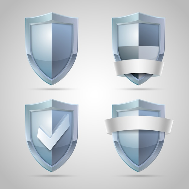 Set of shield icons Free Vector
