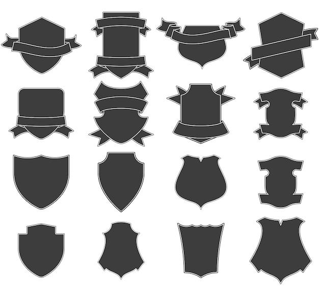 Set of shields logo Premium Vector