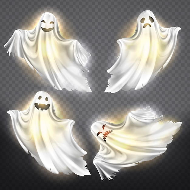 Set of shining ghosts - happy, sad or angry, smiling white phantom silhouettes Free Vector