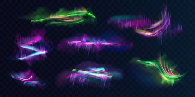 Set di luci polari o nordiche brillanti, incandescente in atmosfera Vettore gratuito