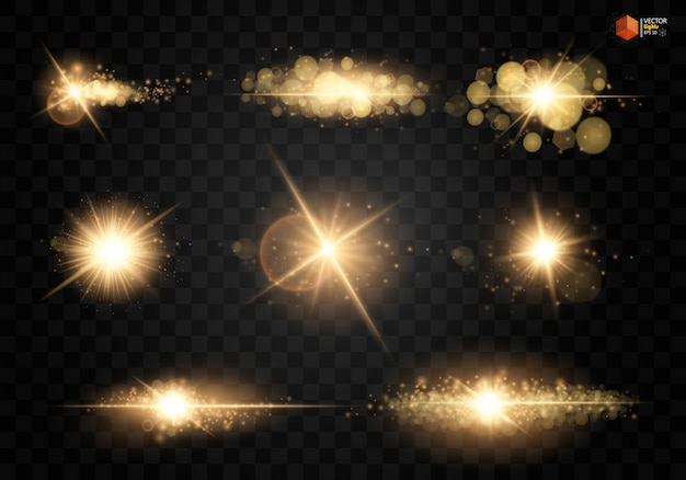 Set. shining star, the sun particles and sparks with a highlight effect, color bokeh lights glitter and sequins. Premium Vector