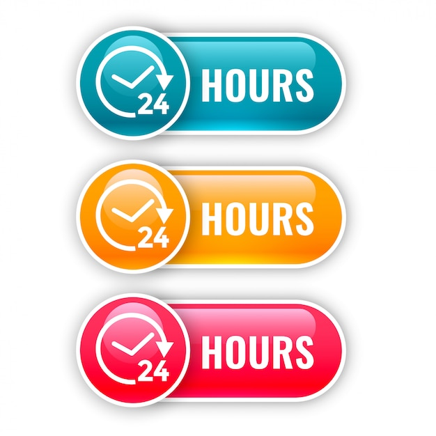 Set of shiny buttons for 24 hours time Free Vector