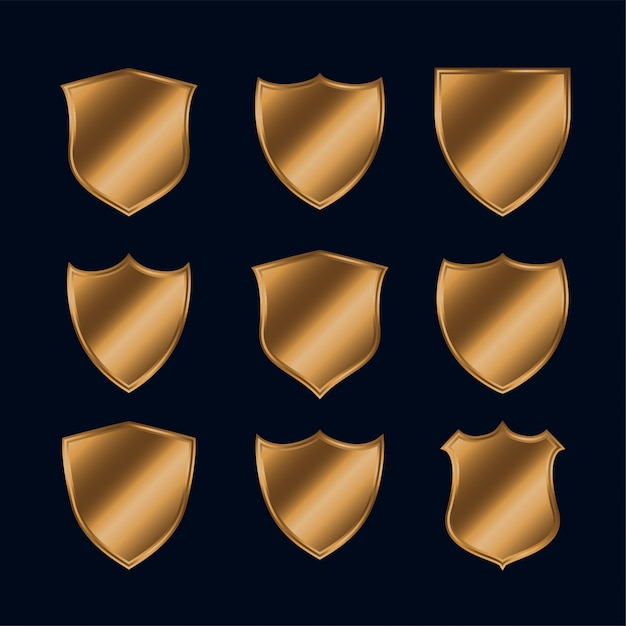 Set of shiny gold police shield set Free Vector
