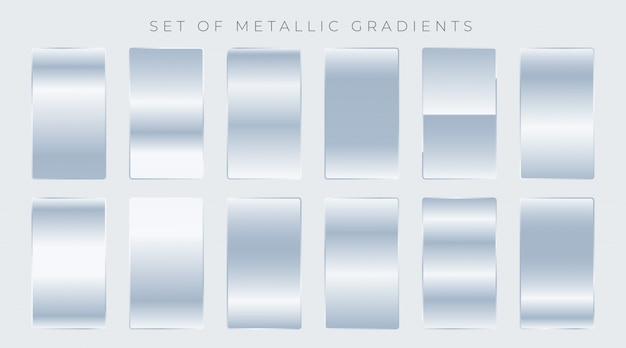 Set of shiny silver gradients Free Vector