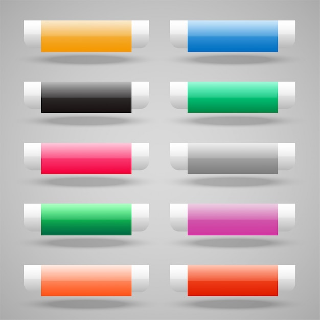 Set of shiny web buttons Free Vector