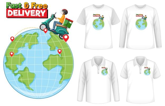 Set di camicia con tema di design di consegna Vettore gratuito
