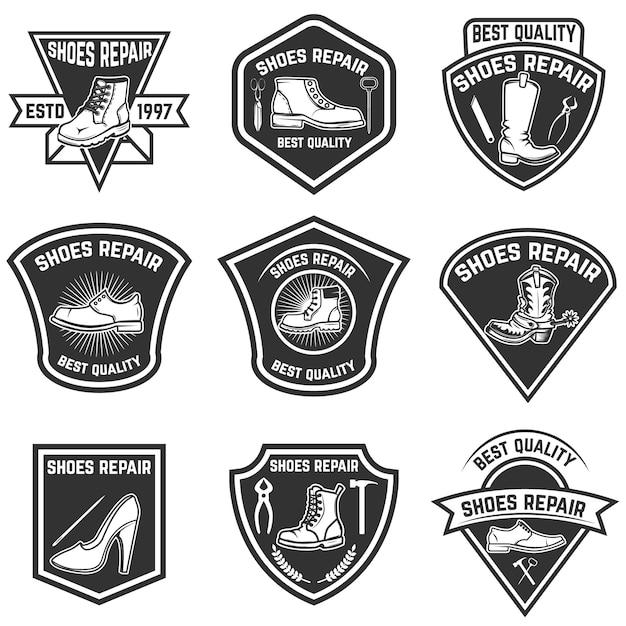 Set of shoe repair emblems  on white background.  elements for logo, label, emblem, sign, badge.  illustration Premium Vector