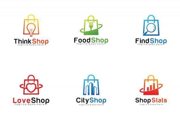 Set of shopping bags logos Premium Vector