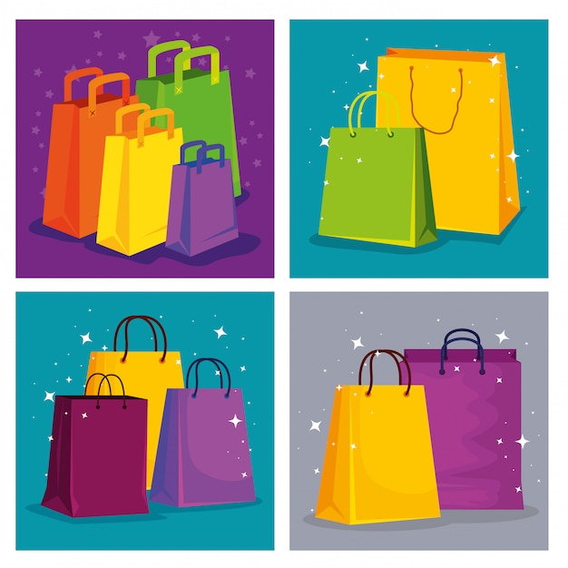 Set shopping bags to special sale price Premium Vector