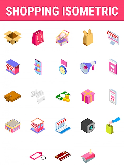 Set of shopping isometric icon. Premium Vector