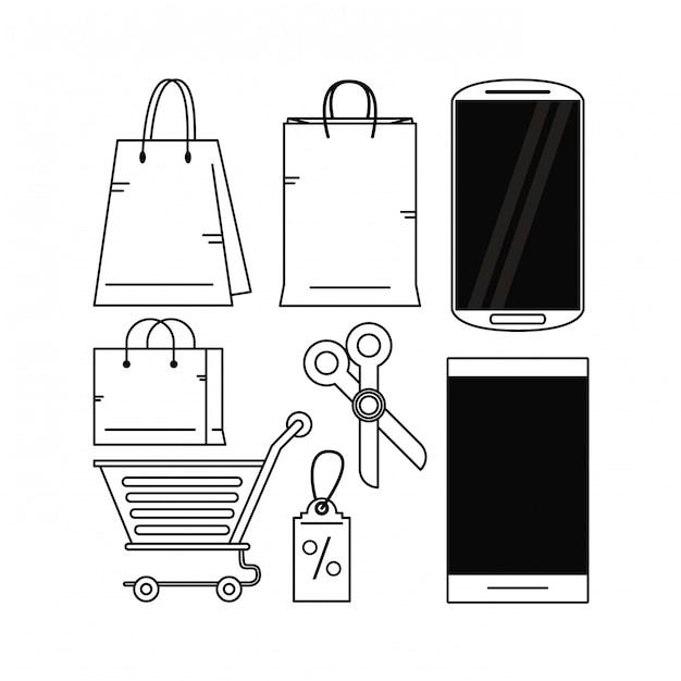 オンラインショッピングを設定する Premiumベクター
