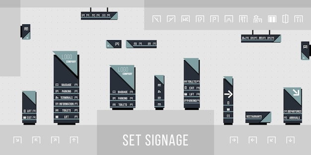 Set of signage  .direction,pole, wall mount and traffic signage system design template set.exterior and interior signage concept. office exterior monument sign, pylon sign.  illustration. Premium Vector
