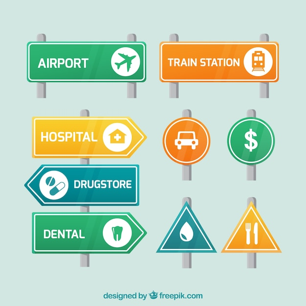 Set of signage and traffic signs Free Vector