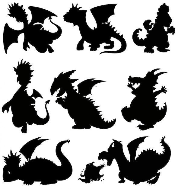 Set silhouette dragon on white background Free Vector