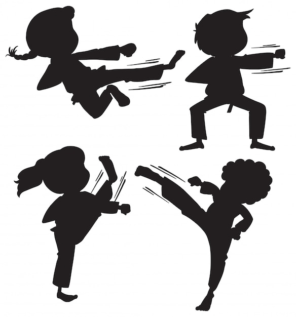 Set of silhouette karate kids Free Vector