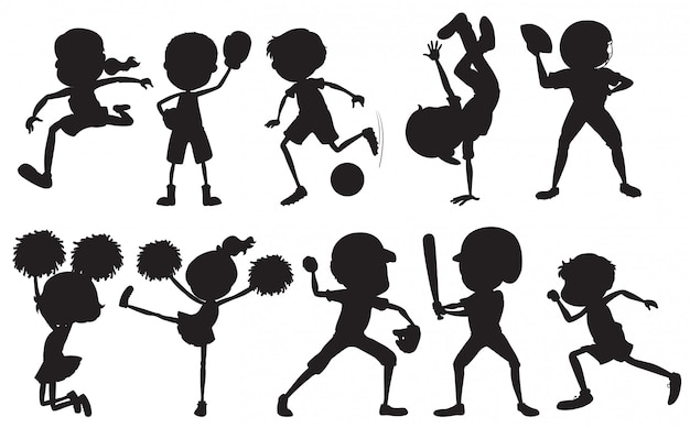Set of silhouette sport athlete character Free Vector