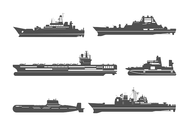 Set of silhouettes of naval ships Free Vector