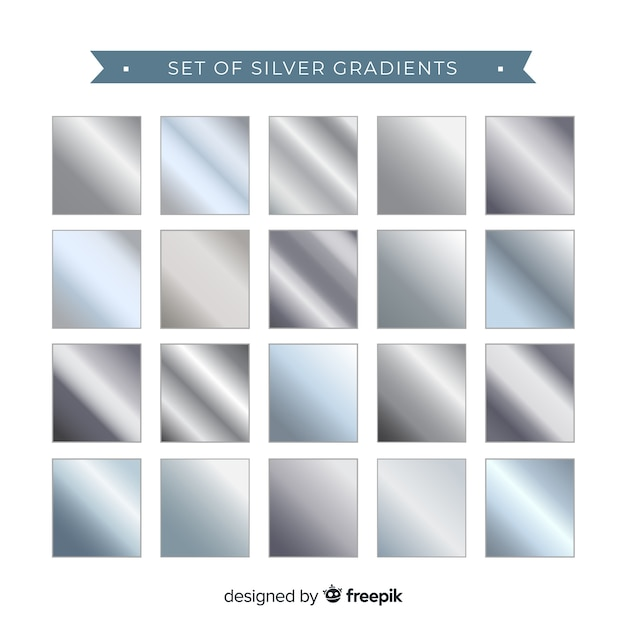 Set of silver gradient Free Vector