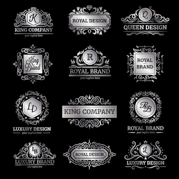 Set of silver luxury labels with flourishes and monograms ornate decorations Free Vector