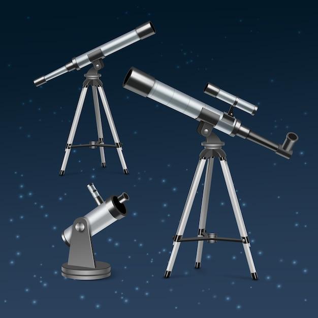 Установите серебряные оптические телескопы на подставку и штатив, иллюстрация астрономических инструментов, изолированных на фоне голубой звезды Premium векторы