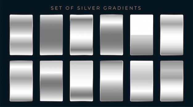 Set of silver or platinum gradients Free Vector