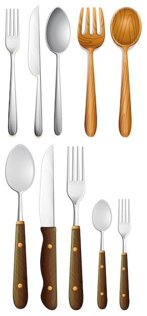 Set of silverware on white background Premium Vector