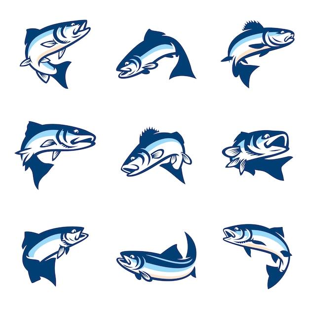 Set of simple fish logo template Premium Vector
