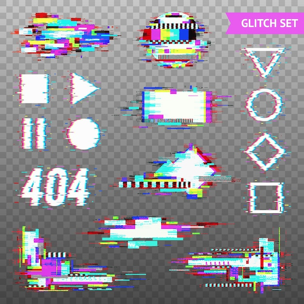 Set of simple geometric forms and digital elements in distorted glitch style Free Vector