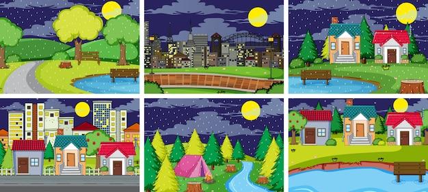 Set of simple landscape Free Vector