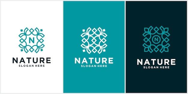 セットシンプルな自然の葉飾りロゴデザイン花のロゴ Premiumベクター