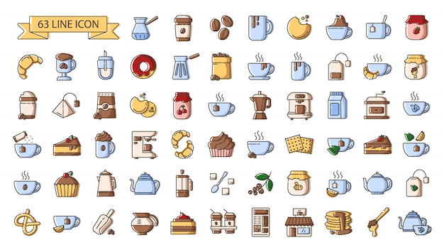 Set of simple outline color icons - tea and coffee drinks, coffee making  equipment, kitchenware, hot beverages, sweet food for breakfast Premium Vector