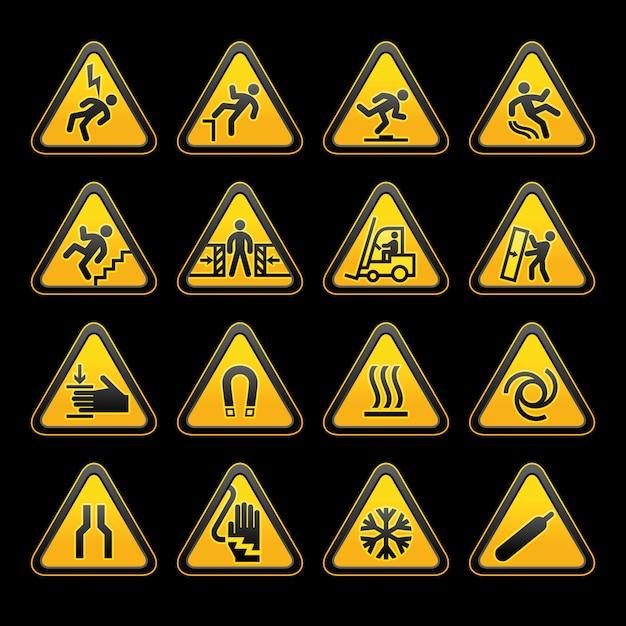 Set simple triangular warning symbols hazard signs Premium Vector