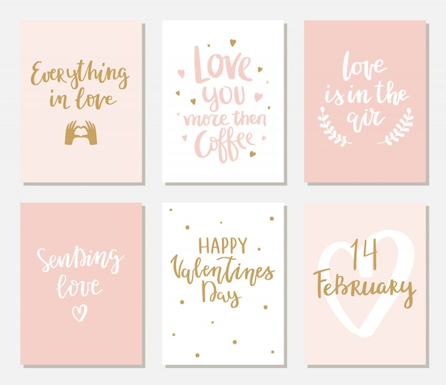 Set of simple valentines cards with lettering. Premium Vector
