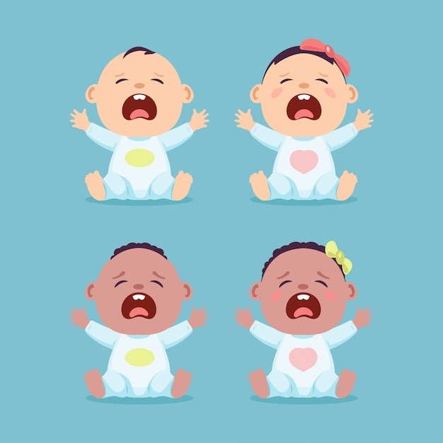 Set of sitting and crying little caucasian baby and black baby, baby boy and baby girl Premium Vector