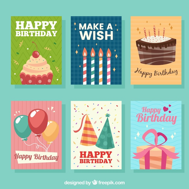 Set of six birthday cards Free Vector