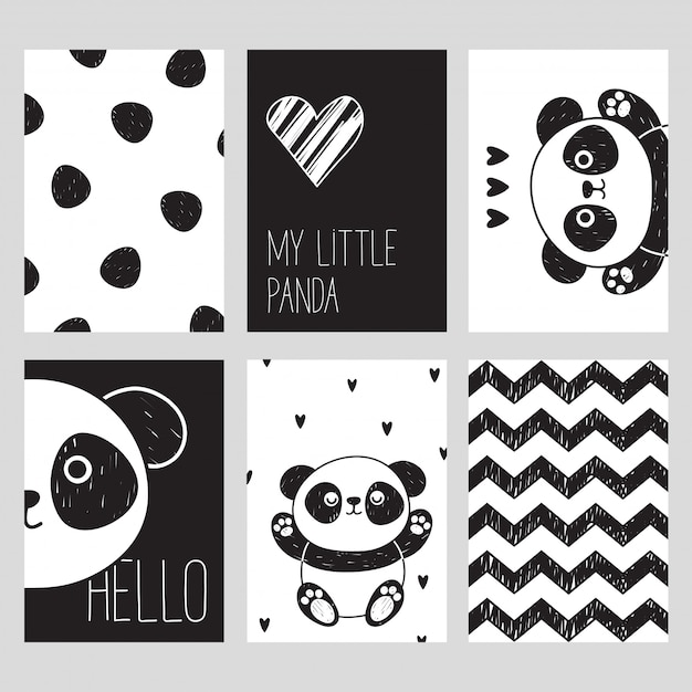 A set of six black and white cards with a cute panda. my little panda. hello. scandinavian style. Premium Vector