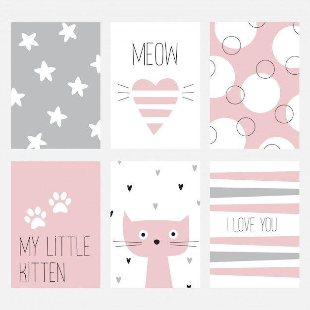 The set of six cards with a nice cat on a pink background. Premium Vector