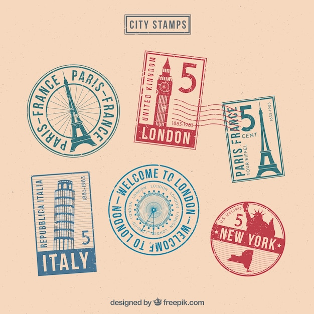 Set of six colored stamps Free Vector