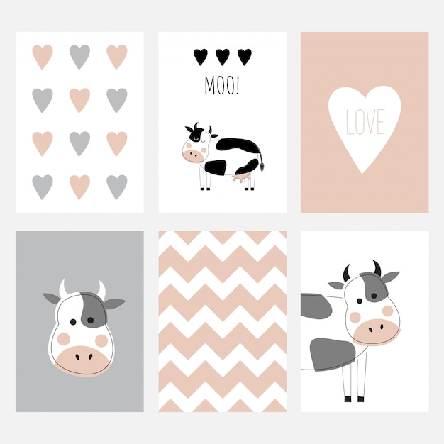 The set of six cute postcards with a cow. Premium Vector