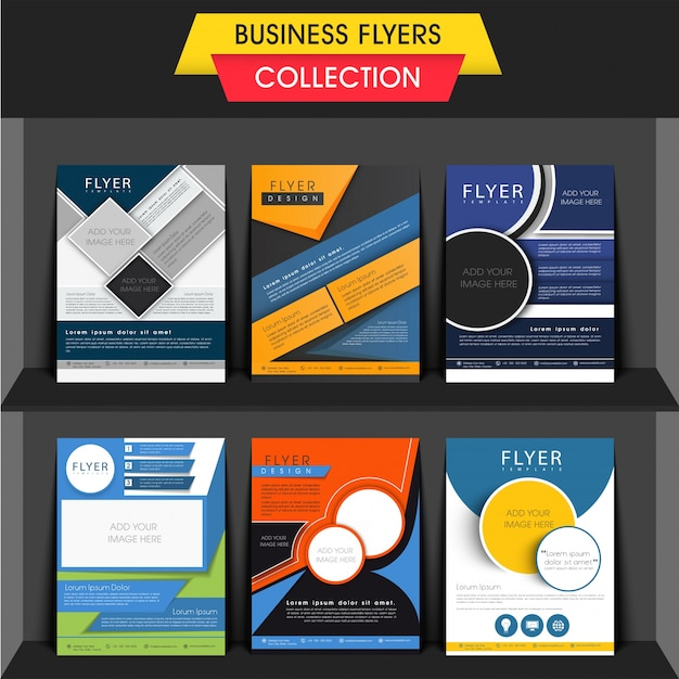 Set of six different business flyers or templates design with space to add your images Free Vector