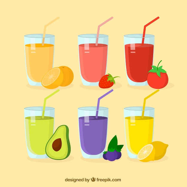 Set of six different fruit juices Free Vector