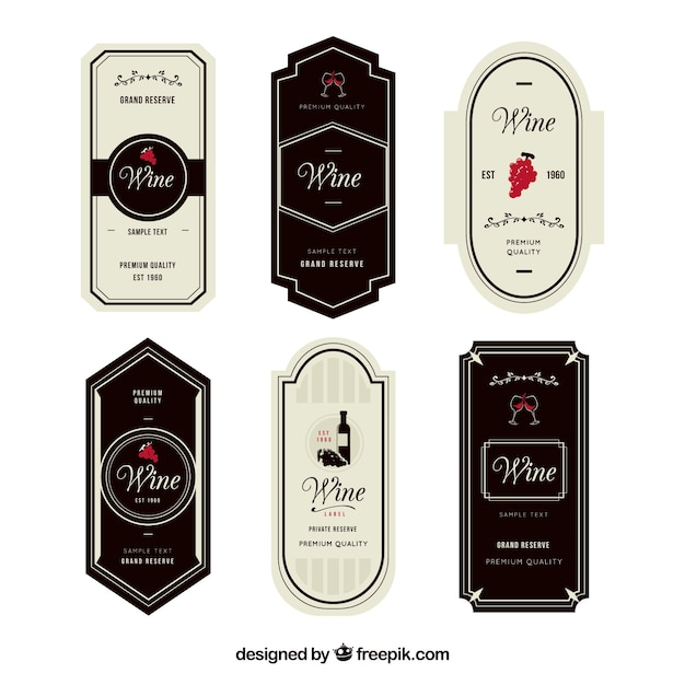 Set of six elegant wine labels with red details Free Vector