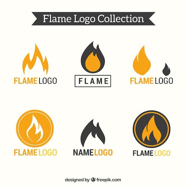 Set of six flame logos Premium Vector